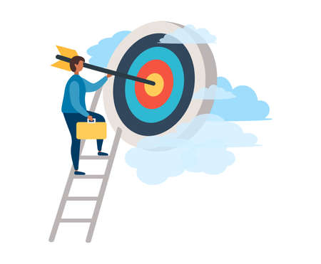 A man with an arrow is running towards his goal along a winding road, motivation is advancing, the path to achieving the goal is high, through clouds or stairs, steps of achievement, steps Иллюстрация