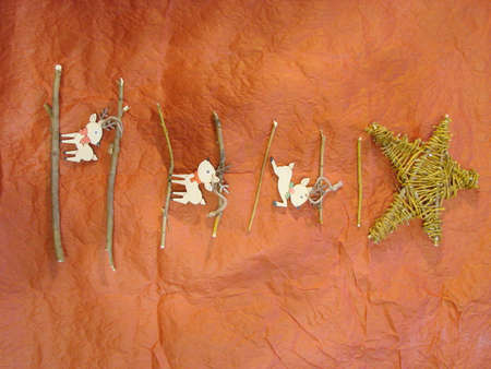 Creative Christmas tree, Scandinavian style, natural materials, reindeer, preparing for Christmas with your own hands, saving live trees