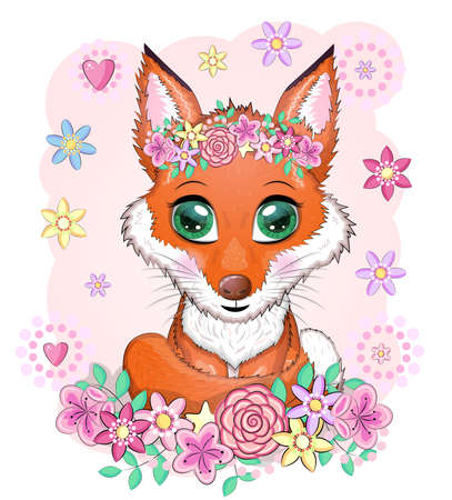 Cute red fox with a fluffy tail among flowers, children's theme.