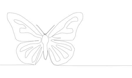 single continuous one line drawing butterfly. Drawing by hand, black lines on a white background. Иллюстрация