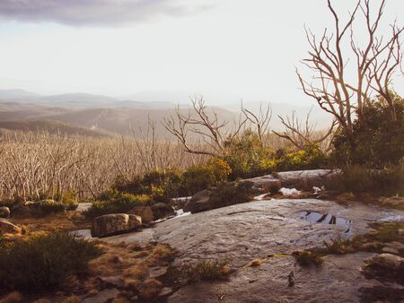 Lake Mountain summit. It is named after George Lake (former Surveyor-General of the area). Famous location for road cyclists due to its challenging terrain. The area was affected by the 2009 bushfires
