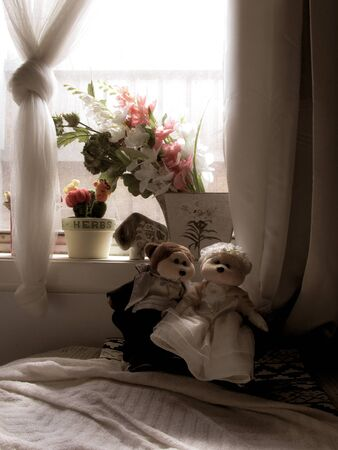 A pair of male and female stuffed animals in wedding dress arranged nicely under a bedroom window. Suitable to illustrate the concept or marriage life, honeymoon, wedding gift or couple's retreat