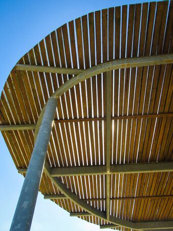 Wooden overhead covering at a public park to provide protection against the hot Australian summer sun Banco de Imagens