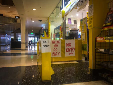 CHELTENHAM, AUSTRALIA - 23 MARCH 2020: Southland Shopping Centre during COVID-19 pandemic. Wage earners are deeply affected by the economic downturn during the lockdown to prevent the virus spreading