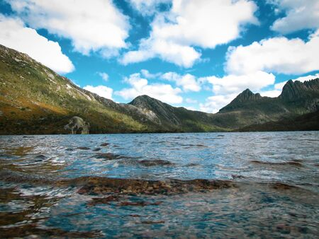 Dove Lake was formed by glaciation like several other lakes in the region. Suitable to illustrate geography books or dream interpretation about seeing a lake in one's dream Banco de Imagens