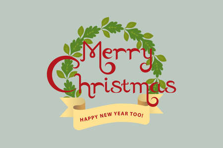 Merry Christmas text decorated with golden ribbon and a wreath on grey background. Christmas wreath symbolizes eternal presence of gold (no beginning no end). It also means eternal life through Jesus.