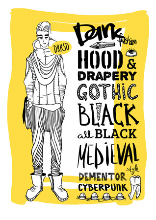 deviant: Vector black, white and yellow doodle set, dark fashion, cyberpunk, style Illustration