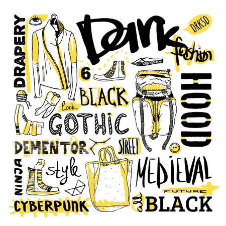 deviant: Vector set  dark fashion, jacket, shoes, bag, text