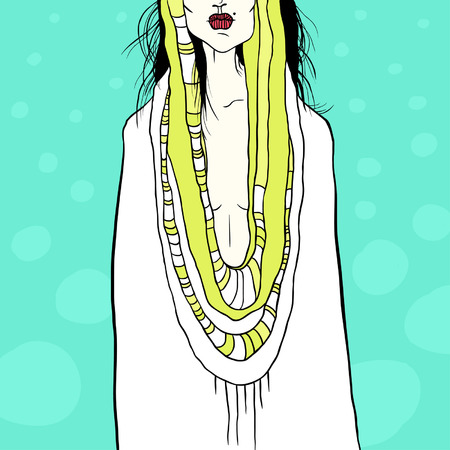 acid colors: Stylish illustration with woman and drapery, acid colors Illustration