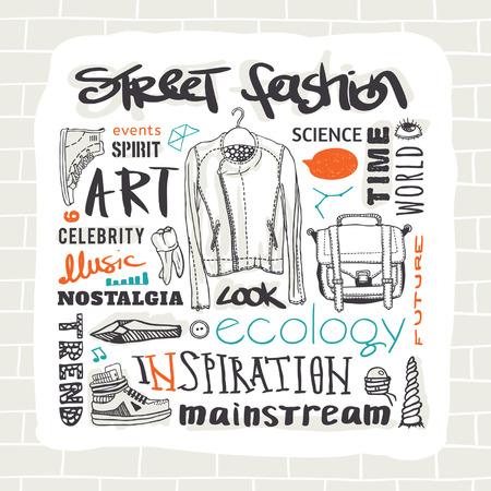 deviant: Vector set  street fashion, jacket, shoes, bag, text Illustration