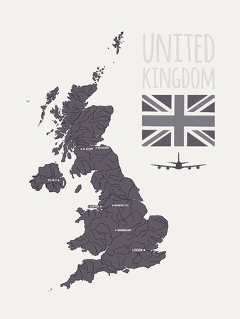liverpool: Vector set with map, text, flag, plane  United Kingdom Illustration