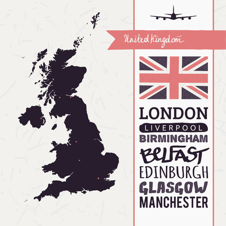 uk map: Vector set with map, text, flag, plane  United Kingdom Illustration