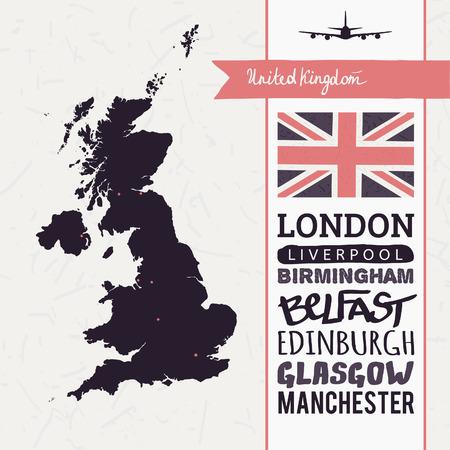 uk map: Vector set with map, text, flag, plane  United Kingdom Illustration