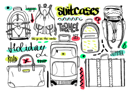 Vector black and white set with bags for travel, text Vector