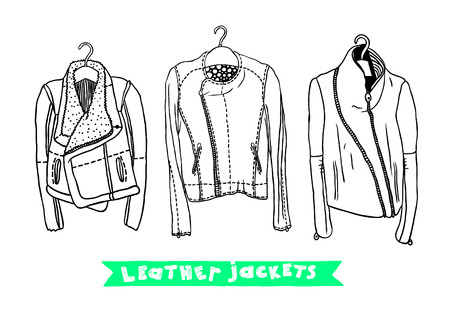deviant: Vector black and white set with original leather jackets Illustration