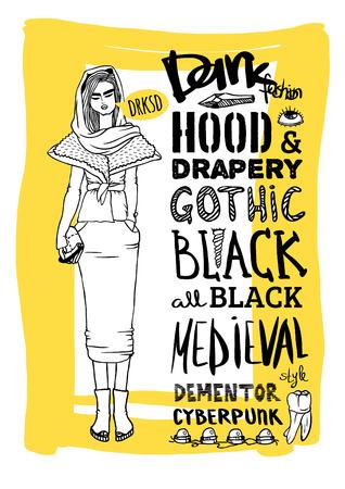 mainstream: Vector black, white and yellow doodle set, dark fashion, cyberpunk, style Illustration