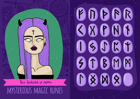 runes: Vecteur magique configur�e avec une fille bizarre et runes myst�rieuses
