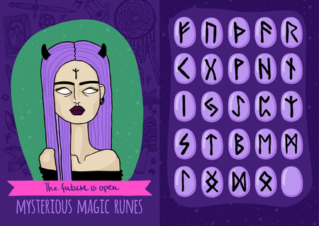 Vector magic set with freaky girl and mysterious runes