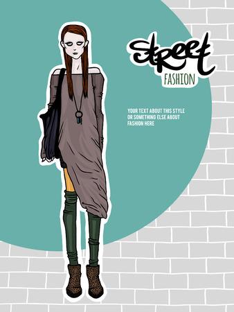 mainstream: Vector illustration girl, street fashion look
