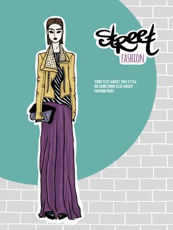 deviant: Vector illustration girl, street fashion look
