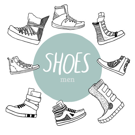 men's shoes: Black and white vector set with men s shoes and blue circle