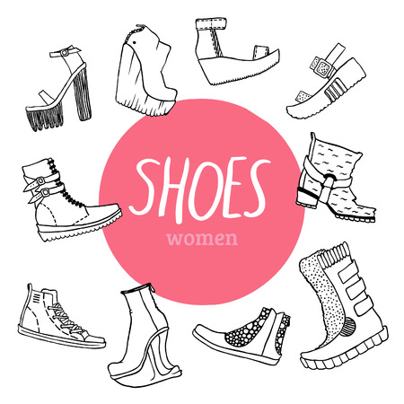 deviant: Black and white vector set with women s shoes and pink circle
