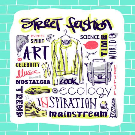 mainstream: Vector set  street fashion, jacket, shoes, bag, text Illustration