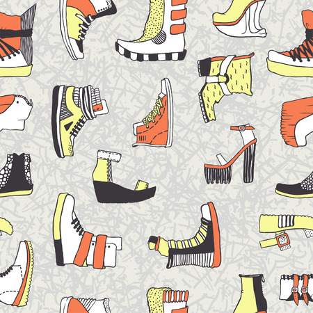 snickers: Seamless vector pattern with original shoes, acid colors
