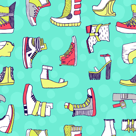 acid colors: Seamless vector pattern with original shoes, acid colors