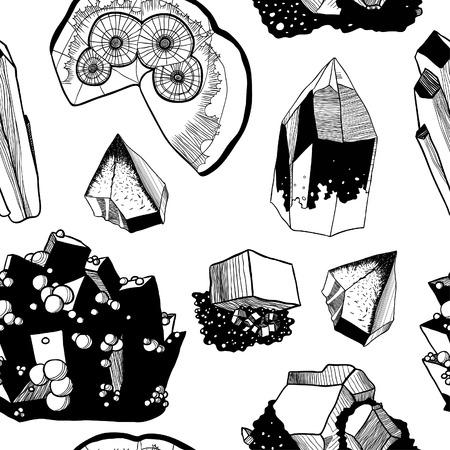 mineralien: Nahtlose Vektor-Muster mit Mineralien, schwarz und wei�