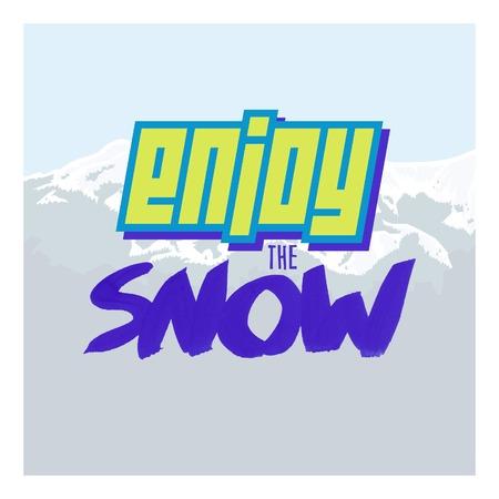 deviant: Positive lettering, mountains, sky, snow. Enjoy the snow.