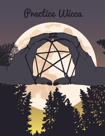 wicca: Practice Wicca, hight forest, hands, pentagram, moon
