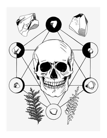 wicca: Vector illustration with skull and ritual things, black contour Illustration