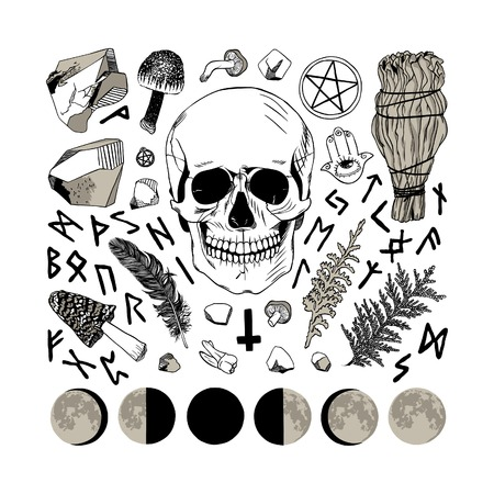 wicca: Vector set of ritual things, black contour