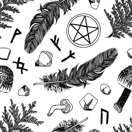 Vector seamless pattern with ritual things, black contour Vector
