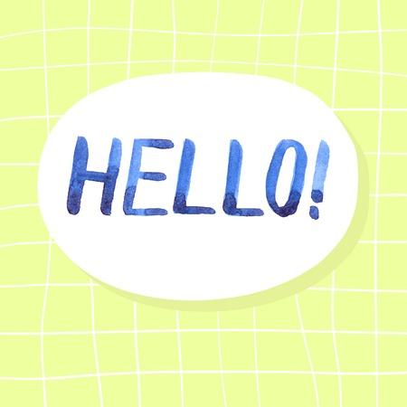 acquaintance: Letras acuarela azul, fondo amarillo y blanco. HOLA.