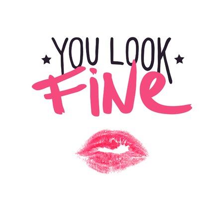Stars, lippenstift kus en positieve belettering. Je ziet er goed uit. Stock Illustratie