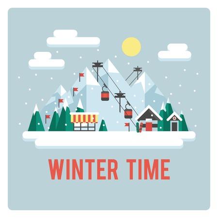 Skigebied in de bergen, de winter, dag Stock Illustratie