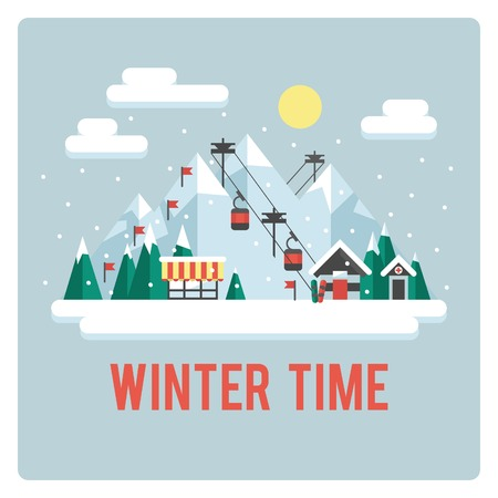 Ski resort in mountains, winter time, day