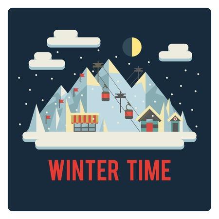 Ski resort in mountains, winter time, night Vector