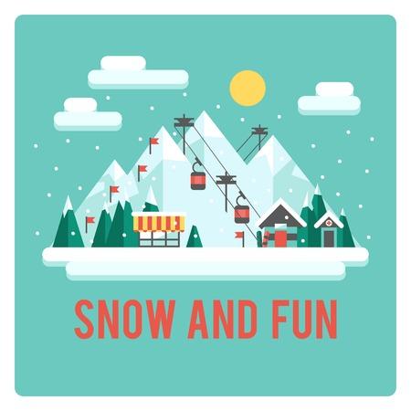 Ski resort in mSki resort in mountains, winter time, snow and funountains, winter time, snow and fun Stock Illustratie