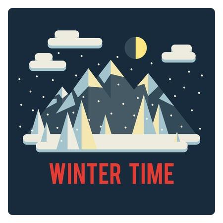 mainstream: Mountains landscape, winter time, winter night, snow Illustration