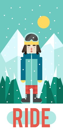 mainstream: Vector pattern for your phone case with nice snowboarder, flat design