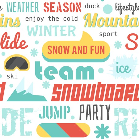 slalom: Seamless vector pattern with snowboarding stuff and words, flat design Illustration