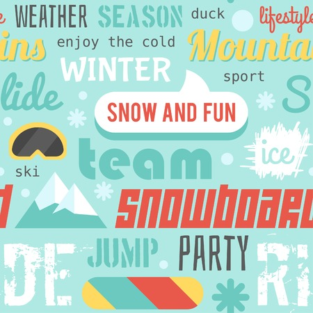 mainstream: Seamless vector pattern with snowboarding stuff and words, flat design Illustration