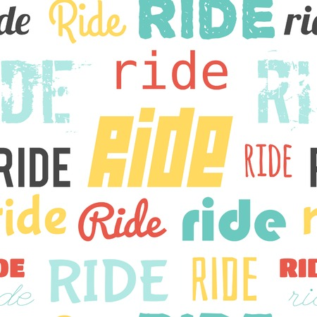 super cross: Seamless vector pattern with word RIDE, flat design Illustration