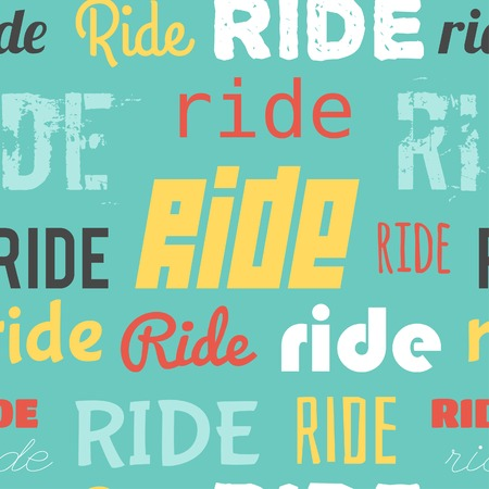 Seamless vector pattern with word RIDE, flat design Illustration
