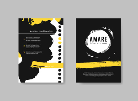 yellow paint: Set of artistic Design Templates Flyers with black and yellow paint splashes.  Abstract Painted Backgrounds. Underground Hand Drawn Vector Illustration