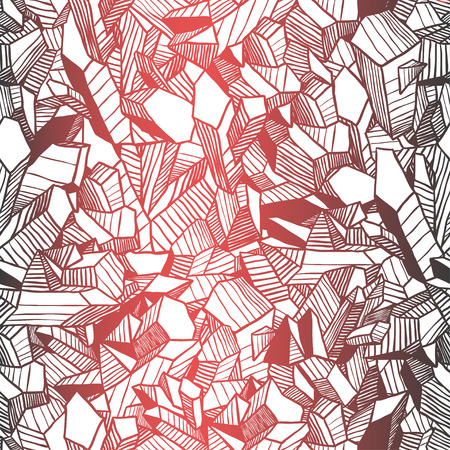 Hand drawn vector illustration. Creative black contour art work. Ink luxury abstract design. Seamless vector retro pattern with crystals and old film effect