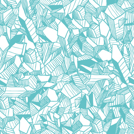 archeology: Hand drawn ice illustration. Creative contour art work. Ink abstract design. Seamless winter vector pattern with blue crystals